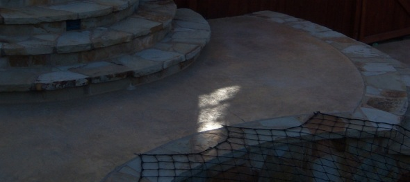 Curvilinear concrete and flagstone patio with decorative flagstone facade and step lighting