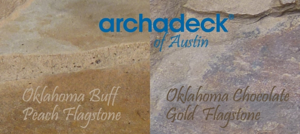 Two of our most popular flagstone colors - Oklahoma Buff Peach and Oklahoma Chocolate Gold