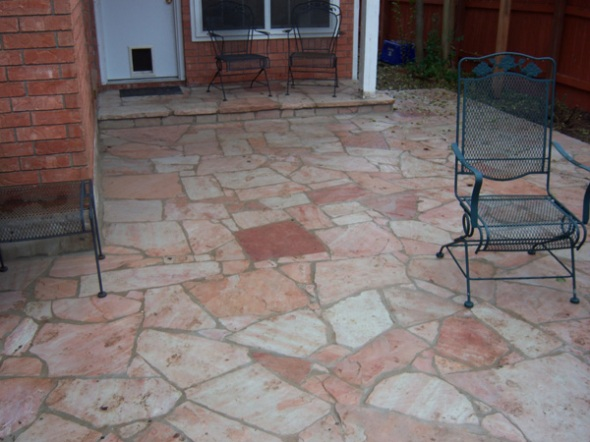 Flagstone patio mosaic with tight mortar joints