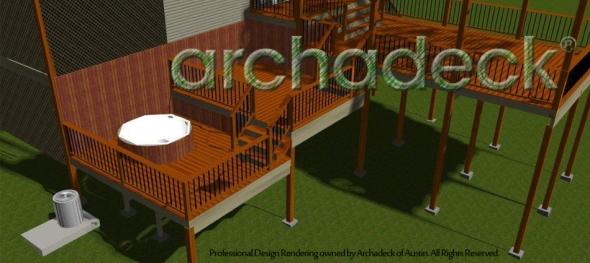 Archadeck deck design rendering Austin