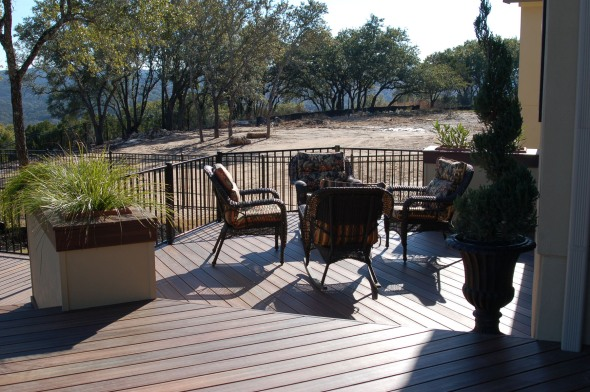 Austin deck seating area made with Tigerwood