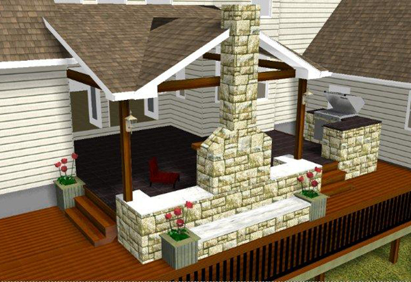 Patio And Fireplace Rendering