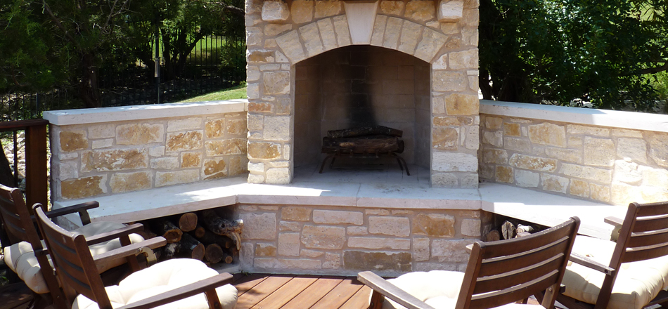 Austin_flagstone_outdoor_fireplace. Beautiful flagstone outdoor fireplace  ... - Outdoor Fireplace Austin Decks, Pergolas, Covered Patios