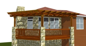 This design rendering shows the innovative and unique cornered design of the pergola