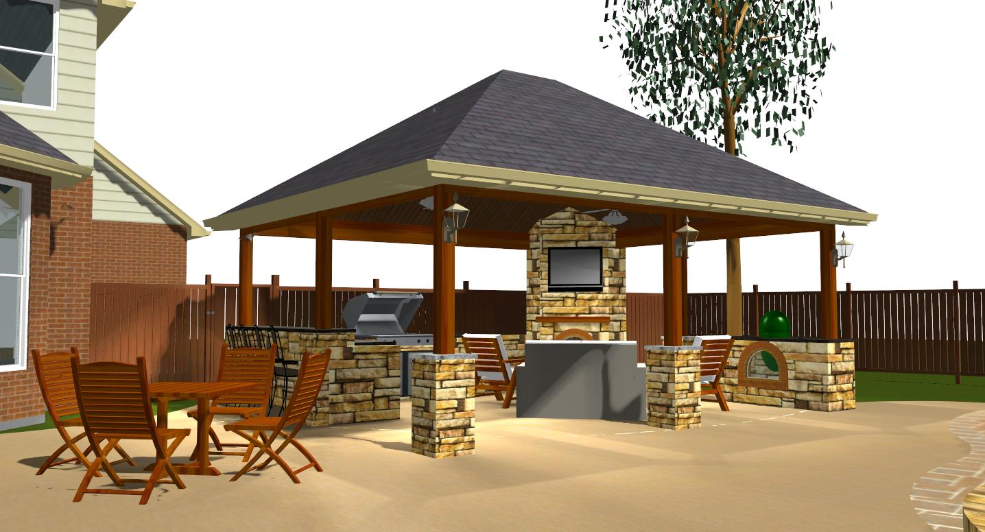 Outdoor kitchens austin decks pergolas covered patios for Outdoor porches and patios