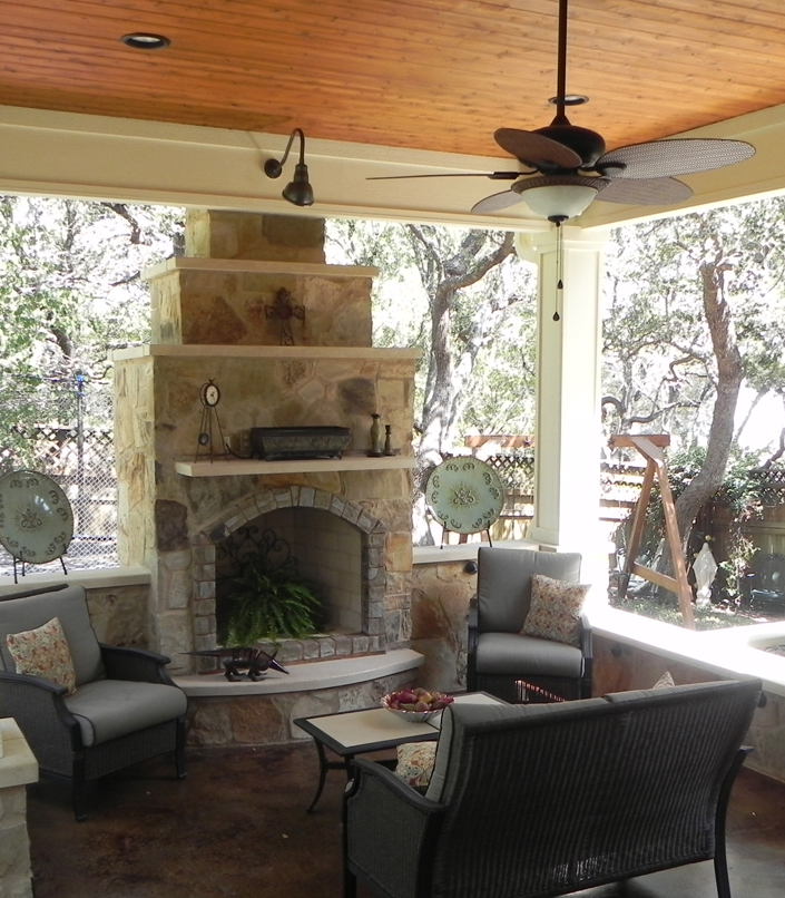 Built ins austin decks pergolas covered patios for Covered patio with fireplace