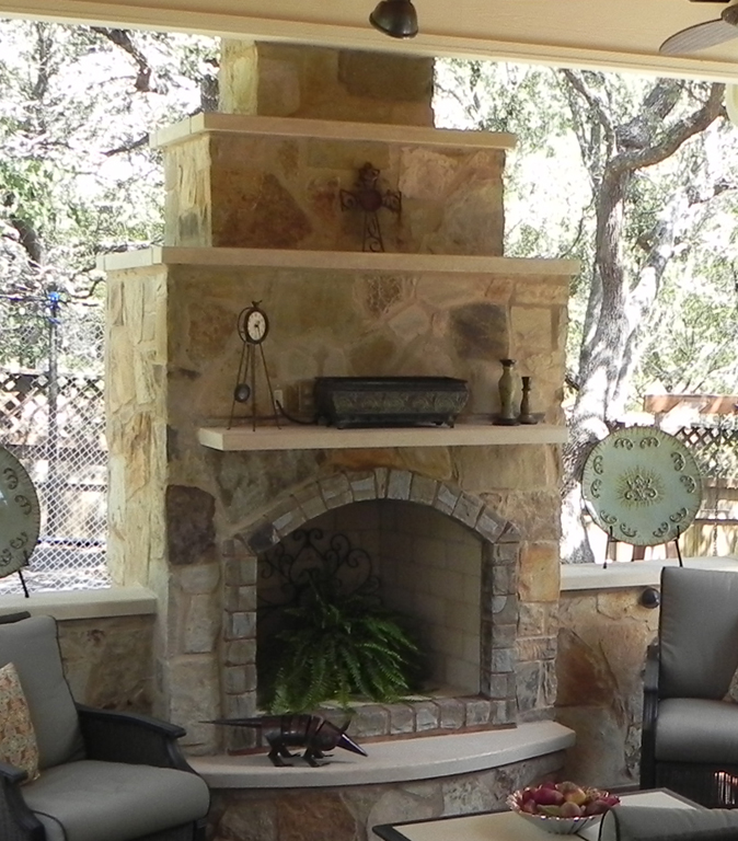 Stone Fireplace Next To The Outdoor Kitchen And A Lovely: Austin TX Outdoor Kitchens