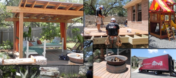 Archadeck of Austin built this deck and outdoor living space for HGTV'd in Austin