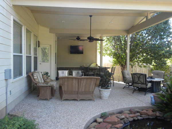 Archadeck Of Austin Works With Architectural Challenges To Deliver A  Stunning L Shaped Covered Patio