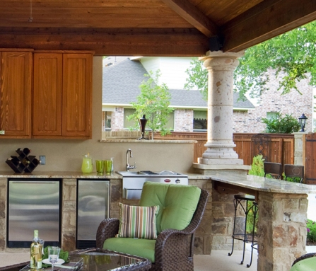 Column and kitchen details in covered patio, Austin