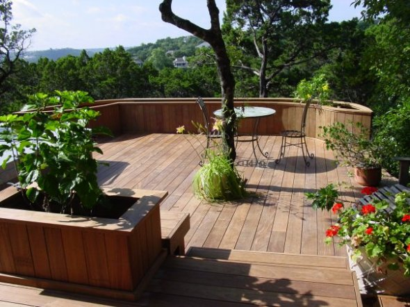 Austin deck with integrated trees