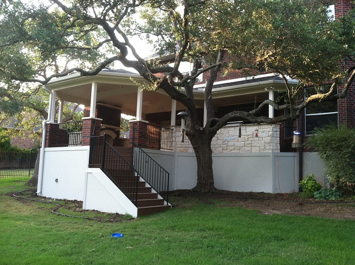 Austin TX gazebo style hip roof covered patios