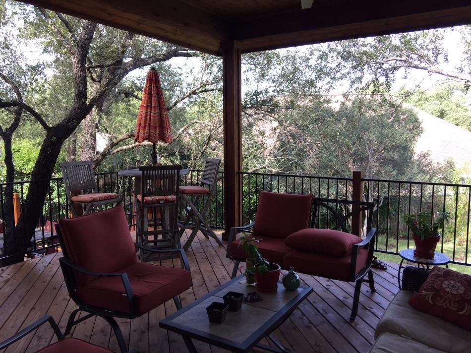 Cedar deck and porch cover in Steiner Ranch, Austin, TX