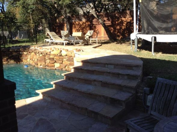 South Austin flagstone pool surround addition
