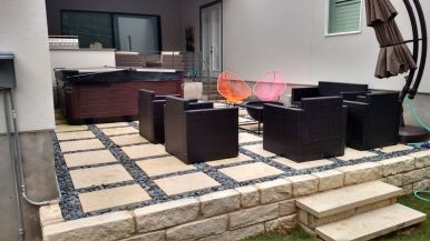 Contemporary patio installation in South Austin