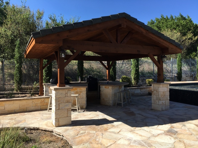 Detached patio covers austin decks pergolas covered for Detached covered patio plans