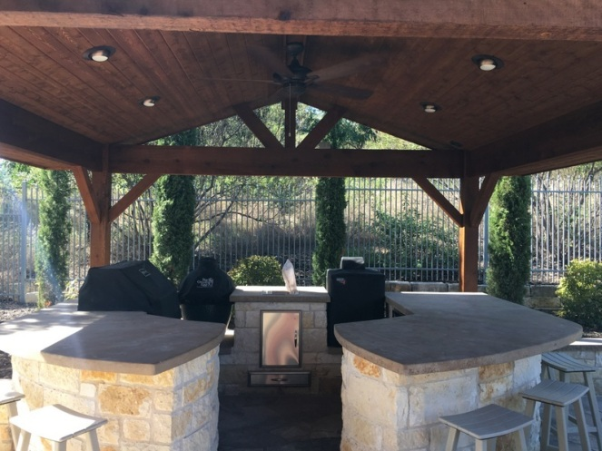 Austin Porch Cover over outdoor kitchen in Riverplace