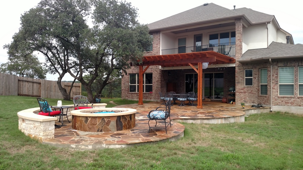Cedar Park Tx Patio Pergola Fire Pit Combination Austin