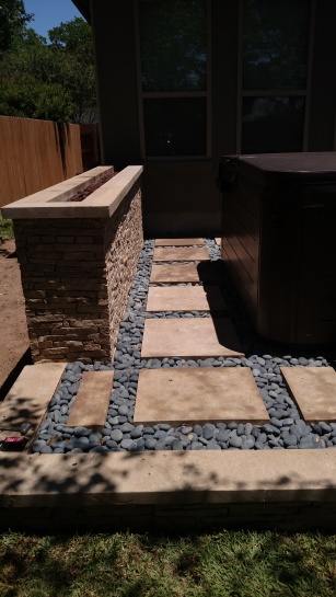 Northwest Austin Patio with Custom Fire Wall Feature