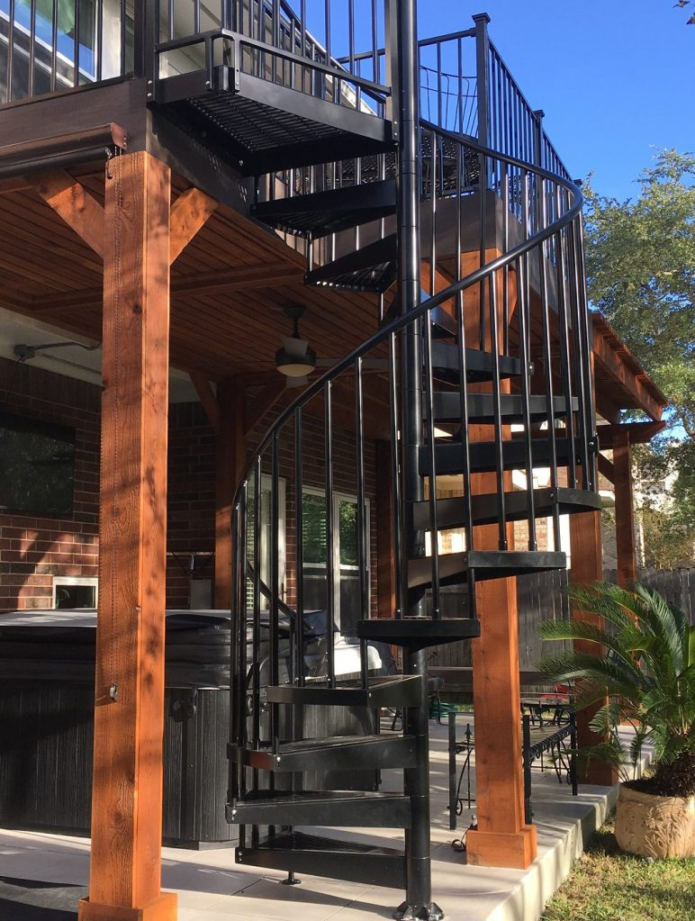 Steiner Ranch 2nd story deck with elegant spiral staircase