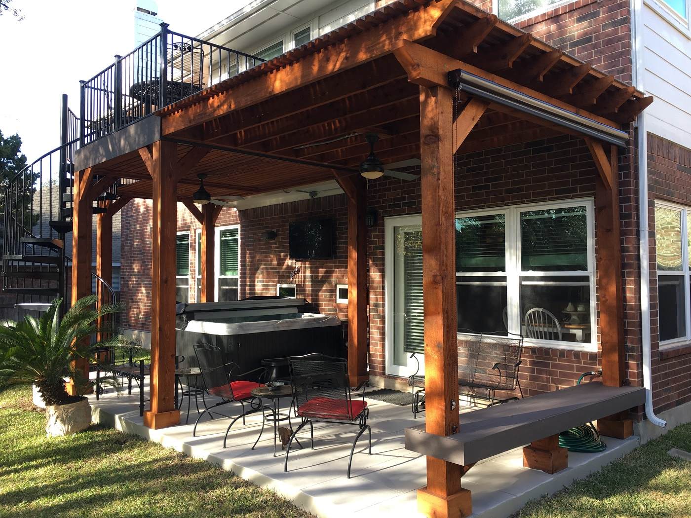 Austin Second Story Deck with Spiral Staircase | Austin Decks, Pergolas,  Covered Patios, Porches, more - Austin Second Story Deck With Spiral Staircase Austin Decks