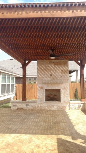 Austin limestone outdoor fireplaces