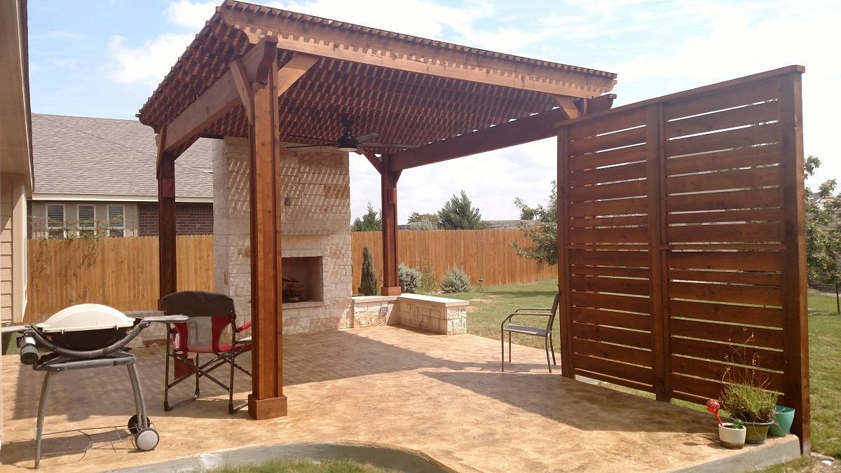 Austin patio covers with outdoor fireplaces - Austin Custom Outdoor Privacy Screens Austin Decks, Pergolas