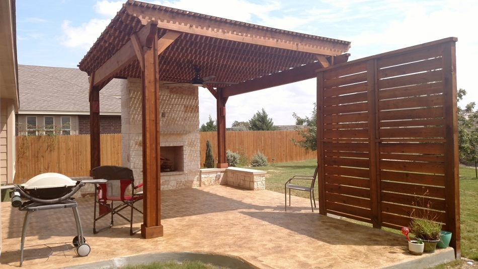 Austin patio covers with outdoor fireplaces