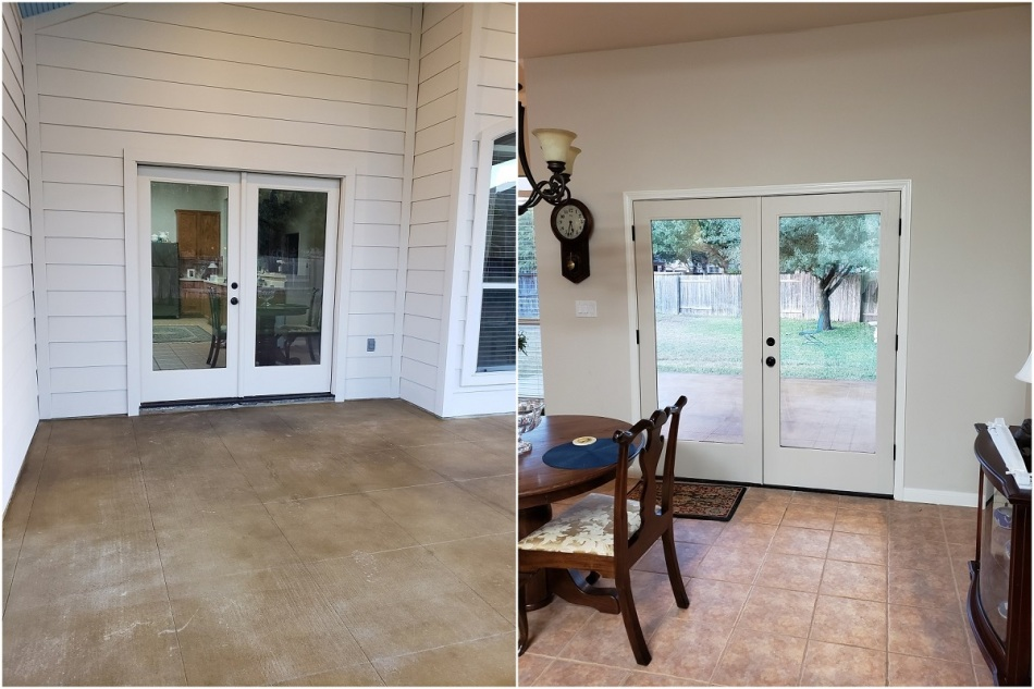 interior and exterior from double doors of view of pflugerville tx covered patio addition