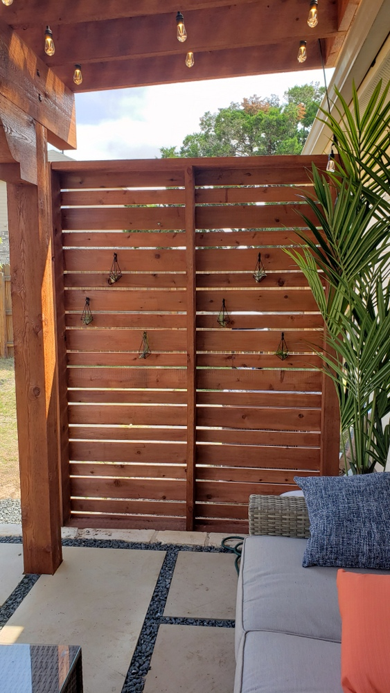 Custom cedar privacy wall