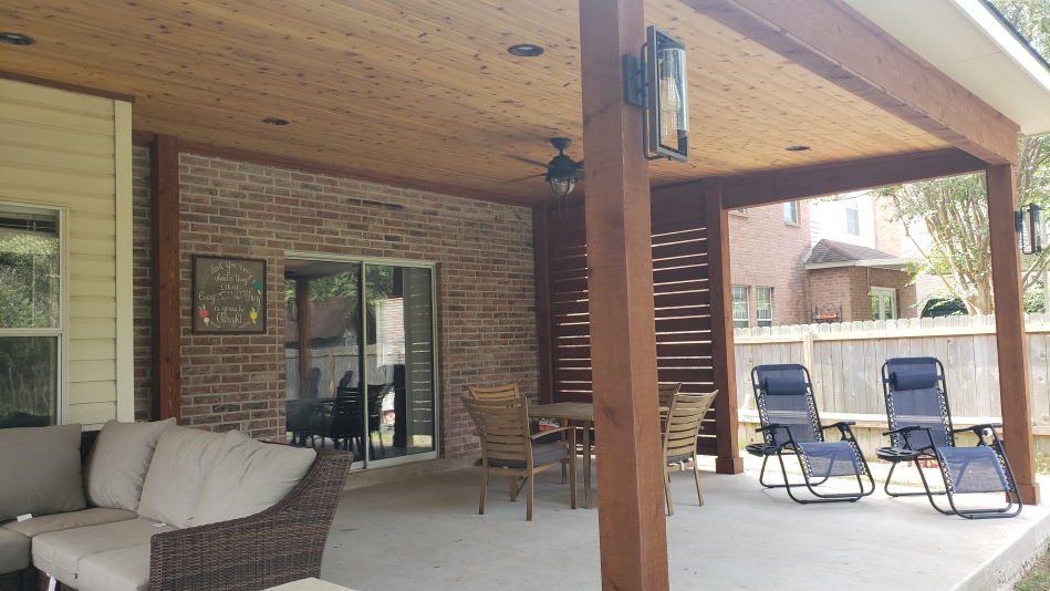 Privacy screen on opposite end of covered patio