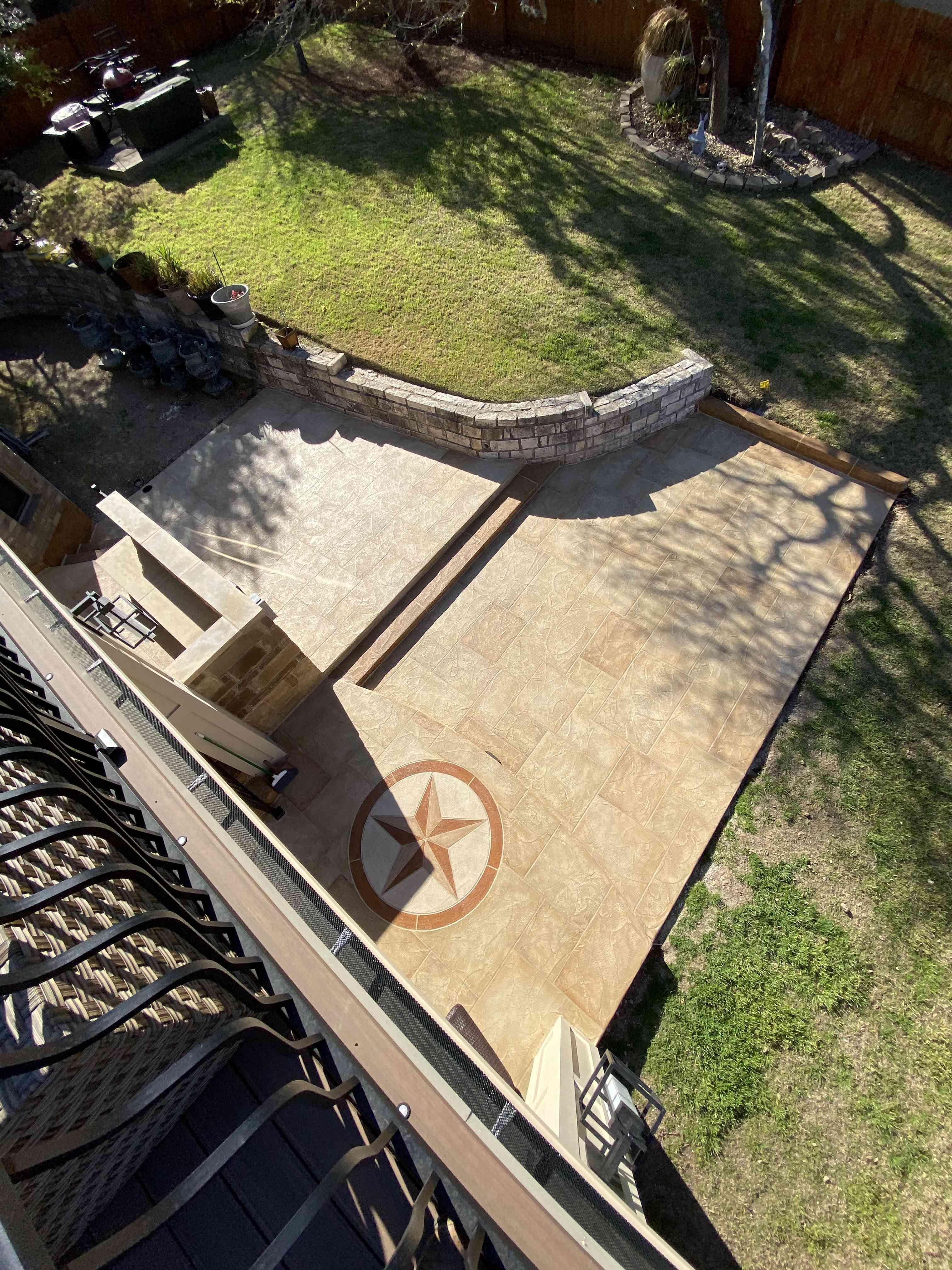 custom Texas star inlay on South Austin patio